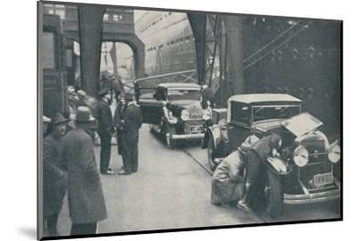 'Customs Officers Examining Motor Cars at Southampton', 1937-Unknown-Mounted Photographic Print