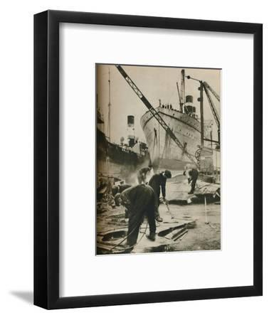 'On the Firth of Forth. Shipbreaking at Bo'ness West Lothian', 1937-Unknown-Framed Photographic Print