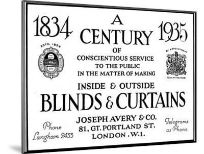 'A Century of Conscientious Service To The Public', 1935-Unknown-Mounted Photographic Print