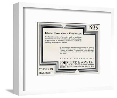 'Interior Decoration a Creative Art - John Line & Sons Ltd', 1935-Unknown-Framed Photographic Print