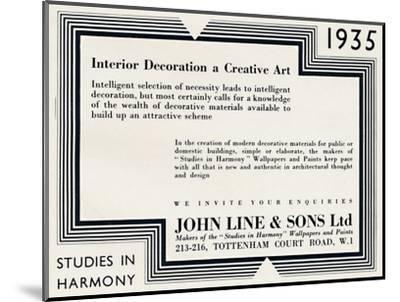 'Interior Decoration a Creative Art - John Line & Sons Ltd', 1935-Unknown-Mounted Photographic Print