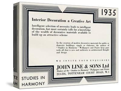 'Interior Decoration a Creative Art - John Line & Sons Ltd', 1935-Unknown-Stretched Canvas Print