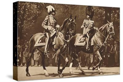 King Edward at the head of the Brigade of Guards, turns, unperturbed-Unknown-Stretched Canvas Print