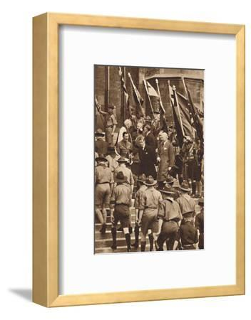 'With Boy Scouts at Windsor', 1937-Unknown-Framed Photographic Print