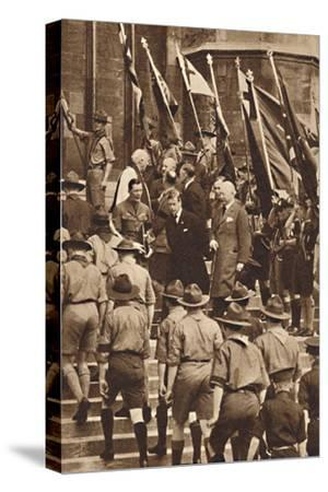 'With Boy Scouts at Windsor', 1937-Unknown-Stretched Canvas Print