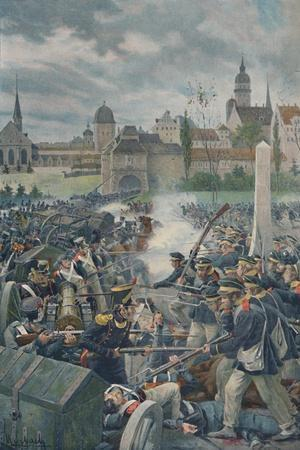 'The French Army Leaving Leipsic', 1813, (1896).-Unknown-Framed Giclee Print