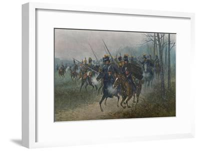 'Napoleon and His Staff Surprised By Cossacks', 1812, (1896)-Unknown-Framed Giclee Print