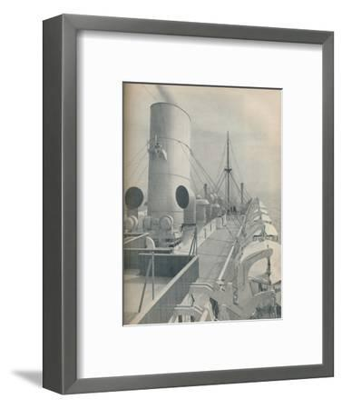 'Top Deck of the Strathmore with modern lifeboats', 1936-Unknown-Framed Photographic Print