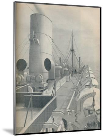 'Top Deck of the Strathmore with modern lifeboats', 1936-Unknown-Mounted Photographic Print