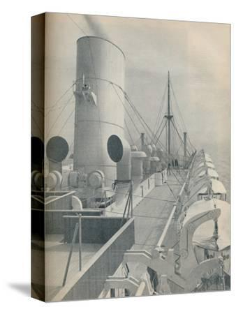 'Top Deck of the Strathmore with modern lifeboats', 1936-Unknown-Stretched Canvas Print