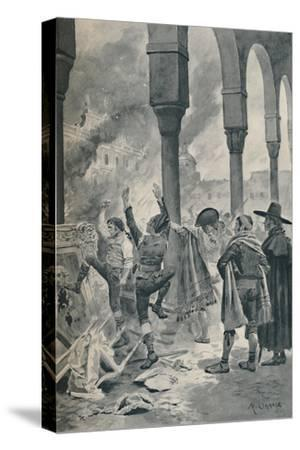 'The Burning of a Palace of Godoy By The Populace at Madrid', 1896-Unknown-Stretched Canvas Print