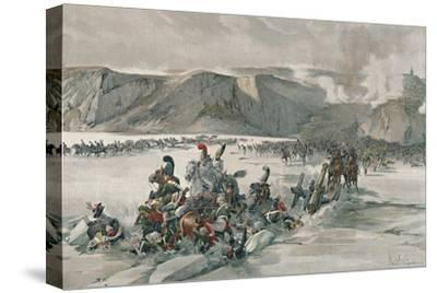 'Destruction of Retreating Russians at Satschan Lake', 1805, (1896)-Unknown-Stretched Canvas Print