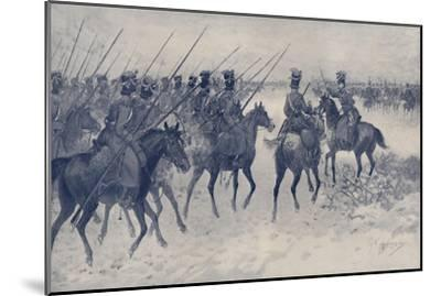 'Cossacks Awaiting A French Cavalry Charge', 1812, (1896)-Unknown-Mounted Giclee Print