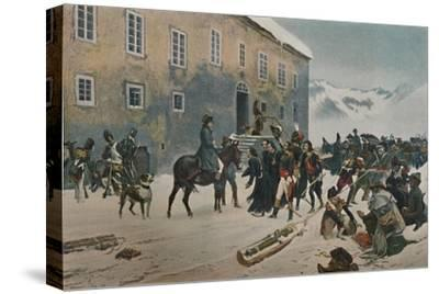 ''Bonaparte Received By The Monks of Mount St. Bernard. Passage of the Alps, May 1800', (1896)-Unknown-Stretched Canvas Print