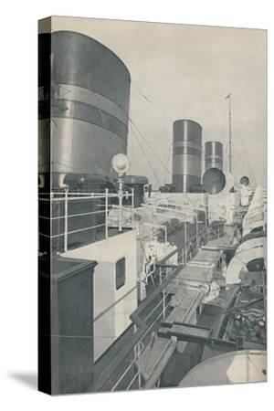 'Three Funnels of the Monarch of Bermuda, the Furness Withy luxury liner', 1937-Unknown-Stretched Canvas Print
