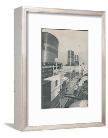 'Three Funnels of the Monarch of Bermuda, the Furness Withy luxury liner', 1937-Unknown-Framed Photographic Print