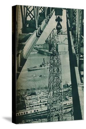 'Seen from a crane, the River Clyde has appearance of a long narrow dock basin', 1937-Unknown-Stretched Canvas Print