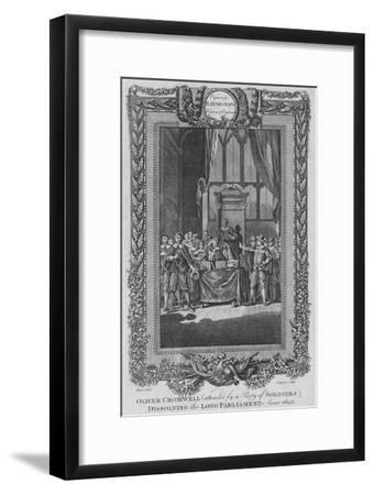 'Oliver Cromwell (attended by a City of Soldiers) dissolving the Long Parliament. Anno 1653', c1787-Unknown-Framed Giclee Print