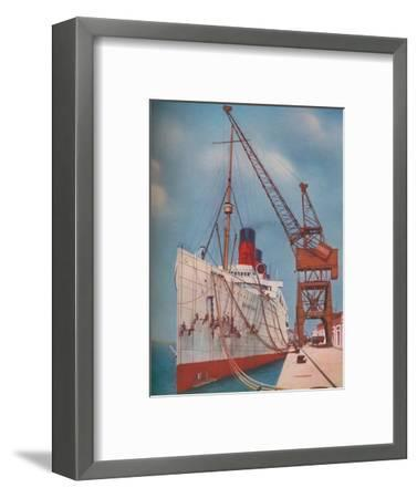 'One of the Most Popular Transatlantic Liners, the Mauretania at Southampton', 1937-Unknown-Framed Giclee Print