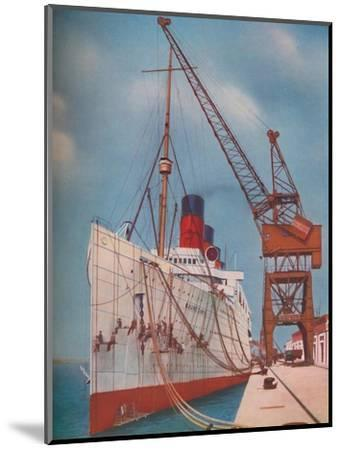 'One of the Most Popular Transatlantic Liners, the Mauretania at Southampton', 1937-Unknown-Mounted Giclee Print