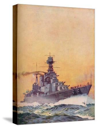 'HMS Hood was laid down in 1916 and completed in 1920', 1937-Unknown-Stretched Canvas Print