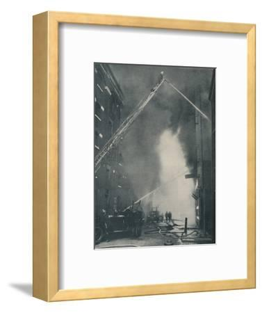 'Massed Forces of the Modern Fire-Fighter Pitted Against a City Blaze', c1935-Unknown-Framed Photographic Print