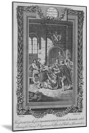 'King Edmund the first Assassinated by Leolf the Robbe', c1787-Unknown-Mounted Giclee Print