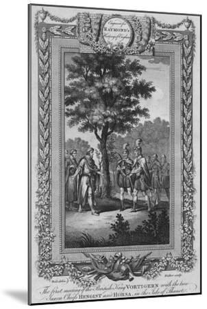 The first meeting of the British King Vortigern with the two Saxon Chiefs Hengist and Horsa-Unknown-Mounted Giclee Print