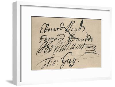 'Signature of Edward Lloyd, 1692', (1928)-Unknown-Framed Giclee Print