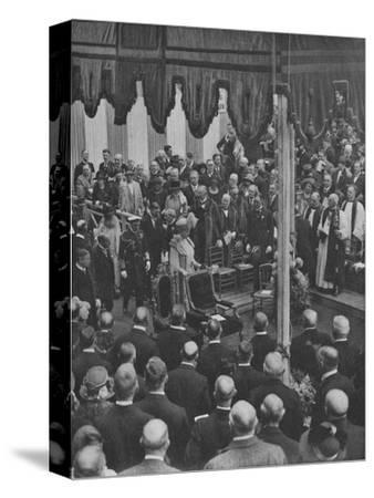 'H.M. The King laying the Foundation Stone of Lloyd's New Building 23 May 1925', (1928)-Unknown-Stretched Canvas Print