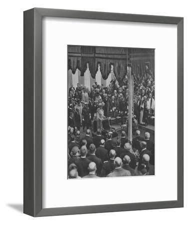 'H.M. The King laying the Foundation Stone of Lloyd's New Building 23 May 1925', (1928)-Unknown-Framed Photographic Print