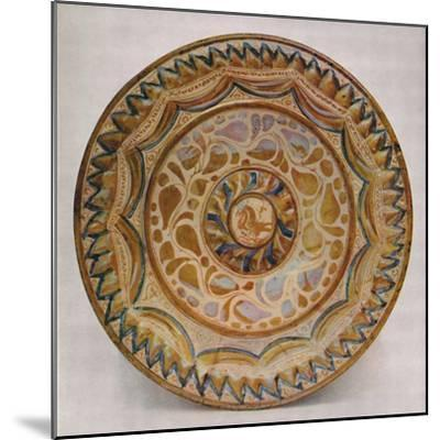 'Hispano-Moresque Lustre Dish with Blue Fish-Scale Border. 15th Century', 1928-Unknown-Mounted Giclee Print