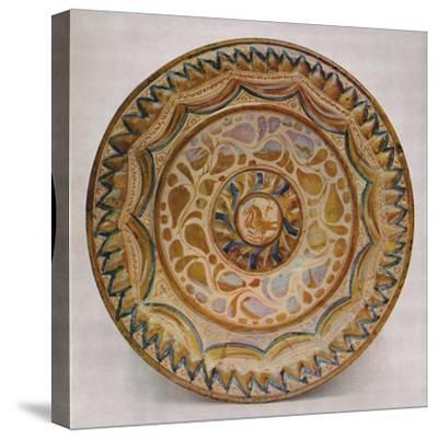 'Hispano-Moresque Lustre Dish with Blue Fish-Scale Border. 15th Century', 1928-Unknown-Stretched Canvas Print