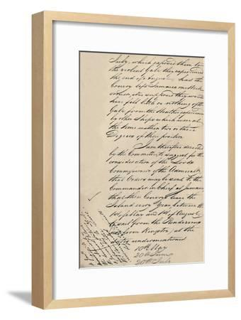 'Part of Letter Dated 31 December 1806 from Lloyd's to the Admiralty', (1928)-Unknown-Framed Giclee Print