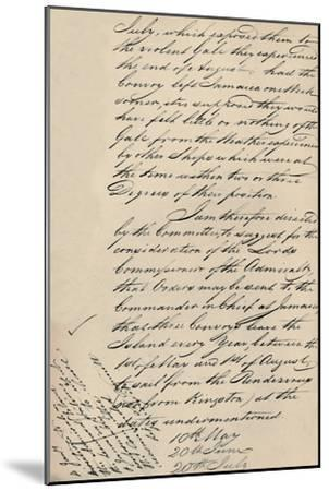 'Part of Letter Dated 31 December 1806 from Lloyd's to the Admiralty', (1928)-Unknown-Mounted Giclee Print