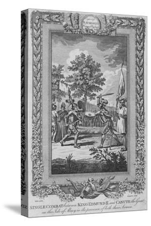 'Single Combat between King Edmund II and Canute the Great on the Isle of Abney', 1787-Unknown-Stretched Canvas Print