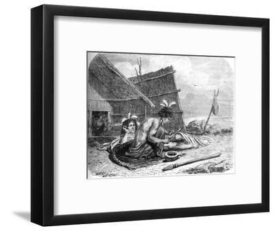 'Tattooing a Maori Chief', c1880-Unknown-Framed Giclee Print