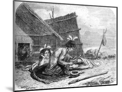 'Tattooing a Maori Chief', c1880-Unknown-Mounted Giclee Print