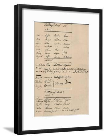 'Page of Arrival and Loss Book at Lloyd's, 1774', (1928)-Unknown-Framed Giclee Print