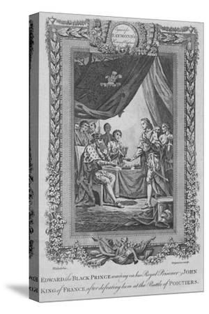 'Edward the Black Prince waiting on his Royal Prisoner John, King of France', c1787-Unknown-Stretched Canvas Print
