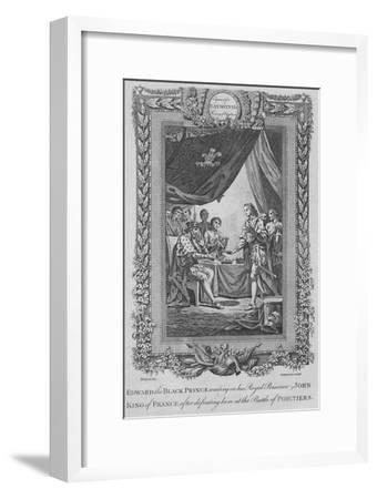 'Edward the Black Prince waiting on his Royal Prisoner John, King of France', c1787-Unknown-Framed Giclee Print