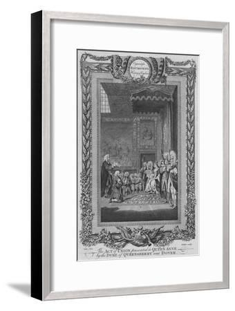 'The Act of Union presented to Queen Anne by the Duke of Queensberry and Dover', c1787-Unknown-Framed Giclee Print