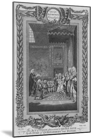 'The Act of Union presented to Queen Anne by the Duke of Queensberry and Dover', c1787-Unknown-Mounted Giclee Print