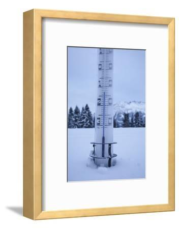 large thermometer puts in the snow, frost, cold, mountains, winters-Martin Ley-Framed Photographic Print