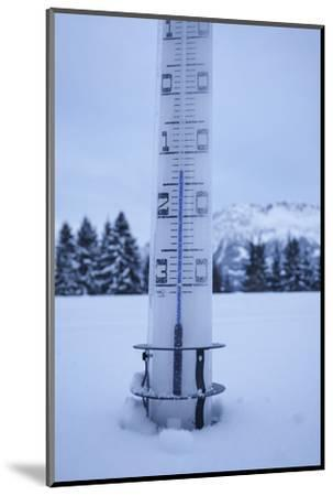large thermometer puts in the snow, frost, cold, mountains, winters-Martin Ley-Mounted Photographic Print