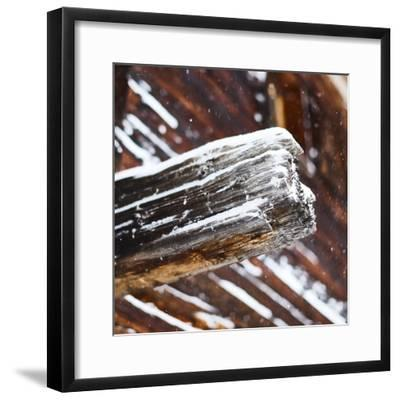 old wooden beam of hut, snowdrift, medium close-up, detail-Martin Ley-Framed Photographic Print