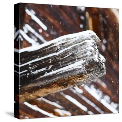 old wooden beam of hut, snowdrift, medium close-up, detail-Martin Ley-Stretched Canvas Print