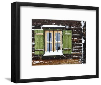 hut window with shutters, snowdrift, detail-Martin Ley-Framed Photographic Print