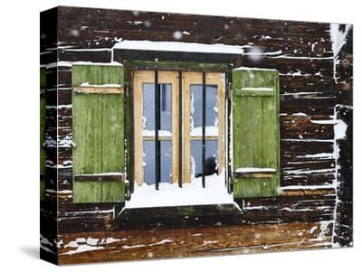 hut window with shutters, snowdrift, detail-Martin Ley-Stretched Canvas Print