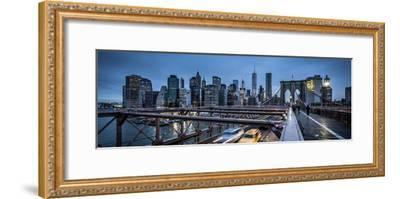 Brooklyn Bridge, rainy evening, skyscrapers and skyline of Manhattan, New York, USA-Andrea Lang-Framed Photographic Print